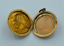 14K Art Nouveau locket with Sarah Bernhardt on front and monogram on back