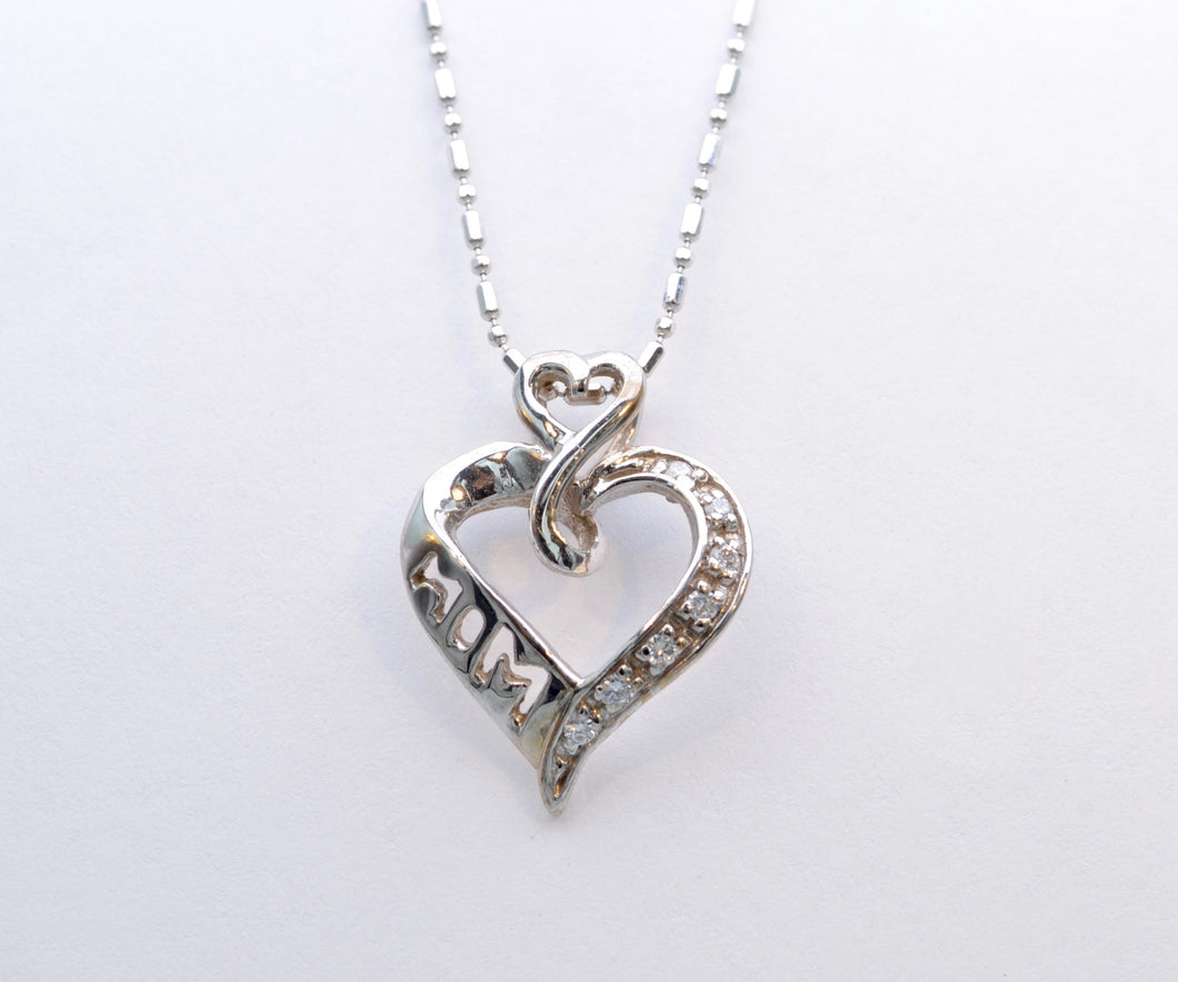 14K White Gold Diamond Heart-shaped Pendant for