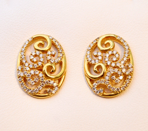 18K yellow gold scroll earrings with Diamonds