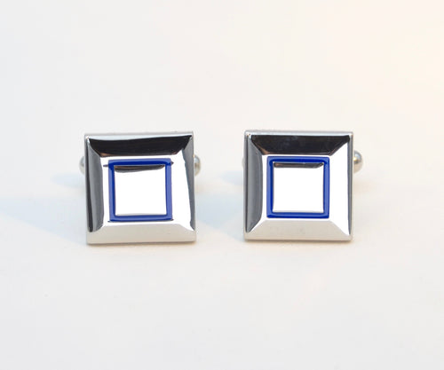 Blue Outline Square Cufflinks