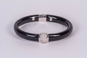 Black Onyx and Diamond Bangle Bracelet