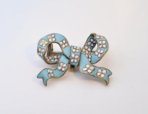 Blue Enamel Bow-Shaped Brooch with White Flowers
