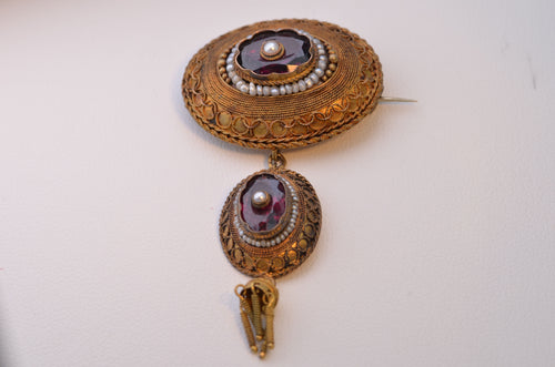 14K Yellow Gold Etruscan-Revival Brooch with Garnet and Sea Pearls