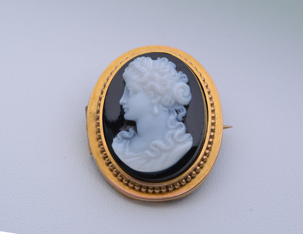 14K Yellow Gold Victorian Hard-Stone Cameo