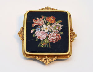 Pietra Dura Victorian Brooch/Pendant with 15K Gold Frame