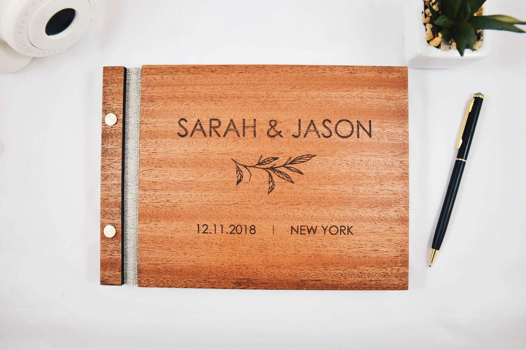 Engraved wood alternative wedding guest book