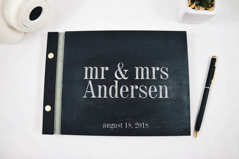 Black and silver wedding wood guest book