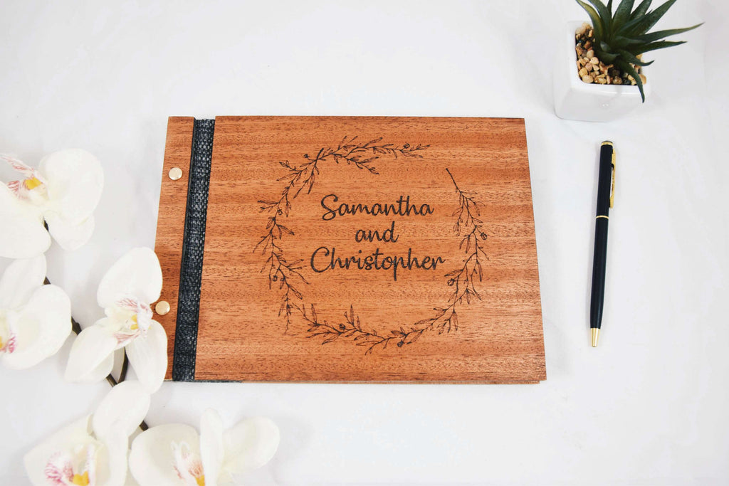 Engraved Wreath Wedding Guestbook