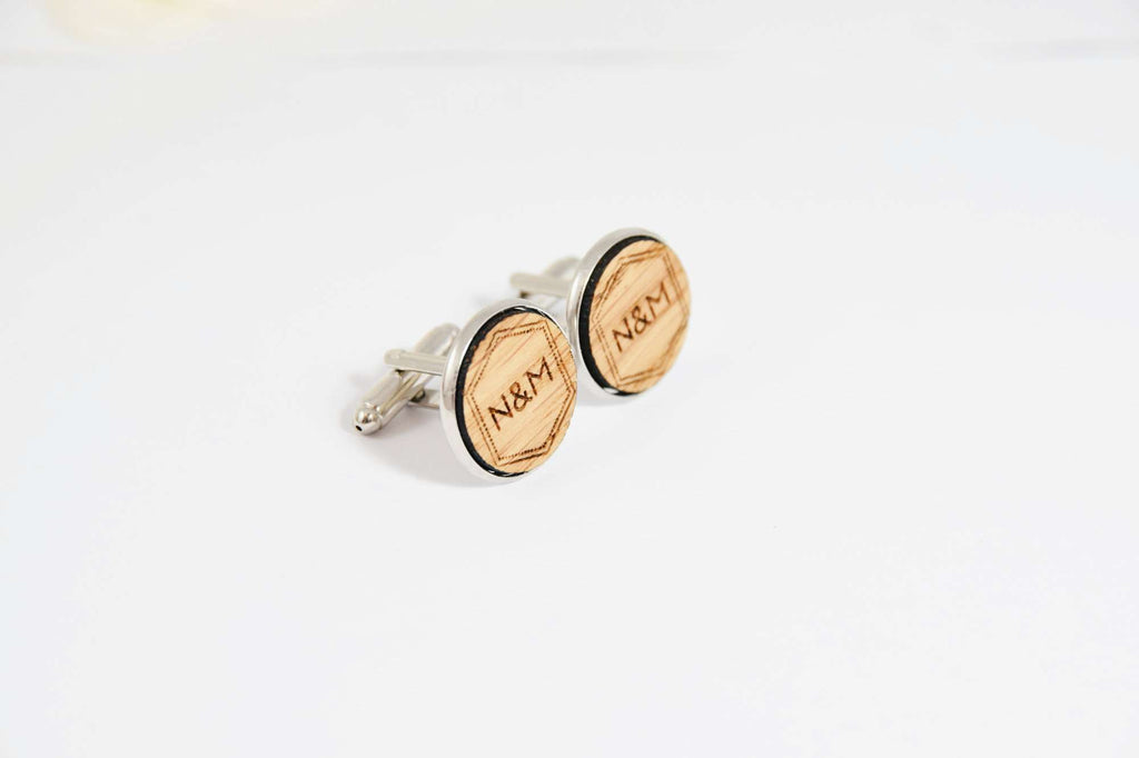 Custom Engraved Initials Monogram Cufflinks