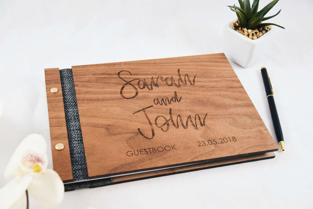 Couple wedding walnut guestbook