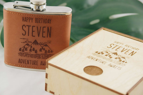 Adventure Awaits - Leather Flask