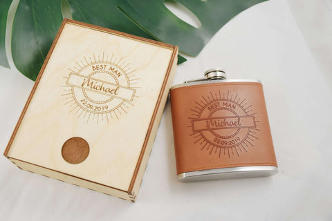 Best Man- Leather Flask