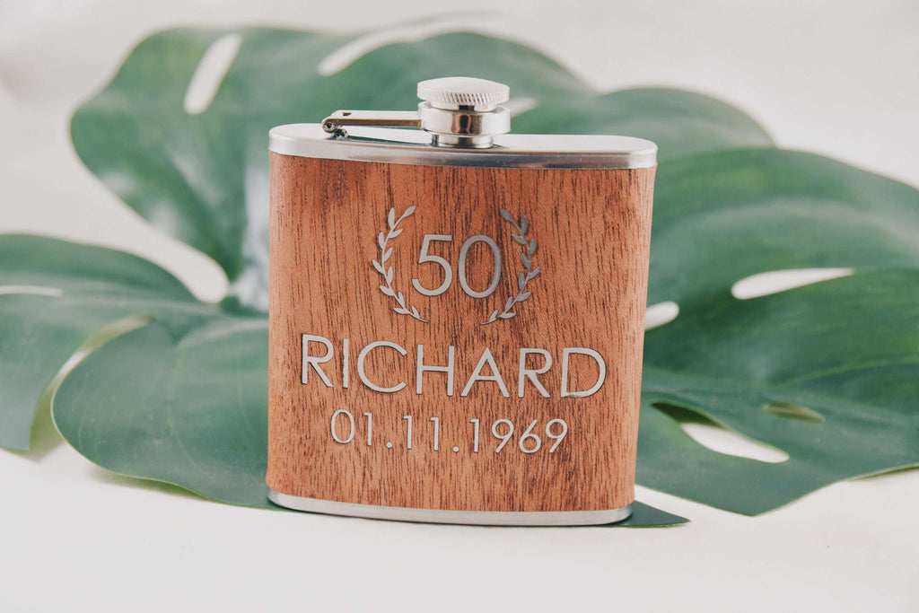 Birthday Gift - Wooden Flask