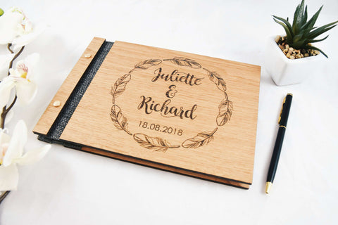 Feather wreath guest book