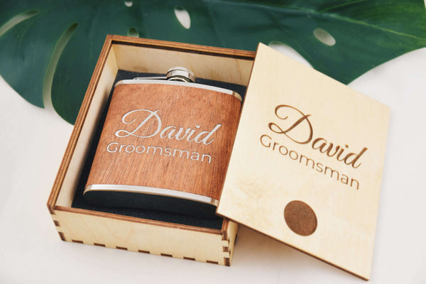 Groomsmen Gift - Wooden Flask