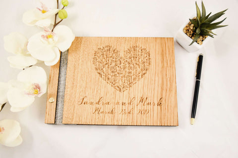Heart engraved guest book