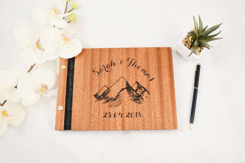 Mountains wedding guest book