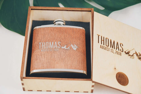 Personalized gift - Wooden Flask