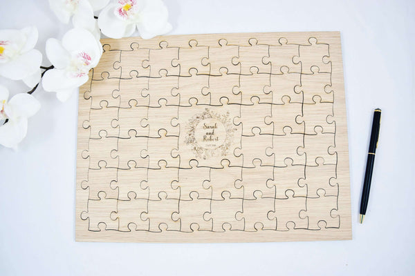 Oak wood wedding puzzle