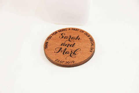 Wooden wedding magnets