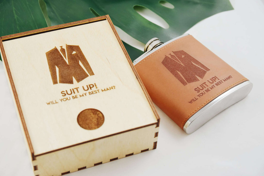 Suit Up - Leather Flask