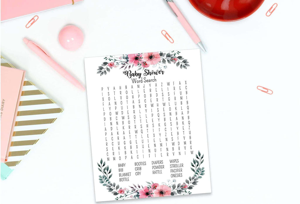 Baby shower activity word search game printable