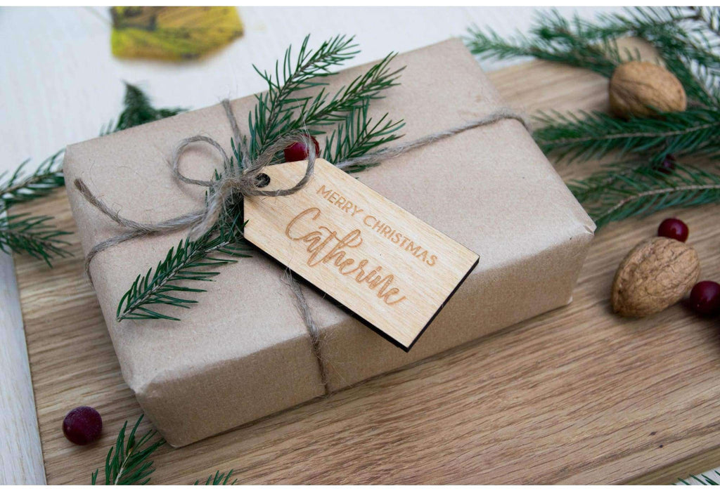 Christmas gift engraved wood tag