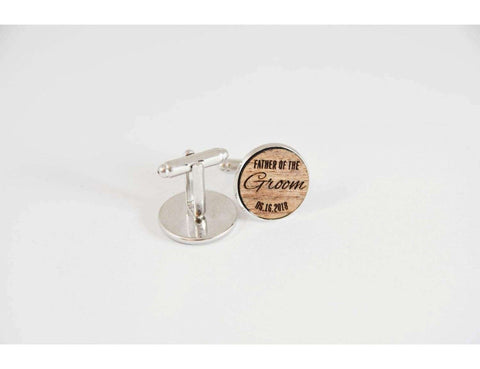 Father of the groom walnut wood cufflinks