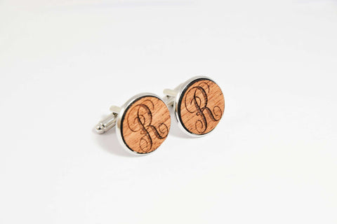 Mahogany wood silver plated cufflinks