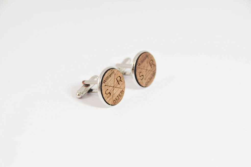 Monogram engraved wedding walnut cufflinks