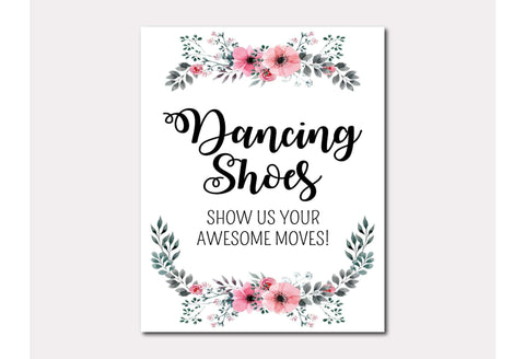Dancing shoes show us your awesome moves wedding dancefloor sign