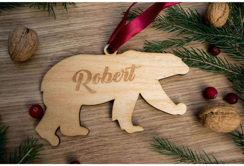 Engraved polar bear ornament