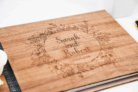 Flower Wreath Walnut Wood Wedding Guestbook