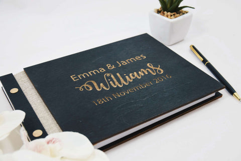 Gold letters wedding wood guest book