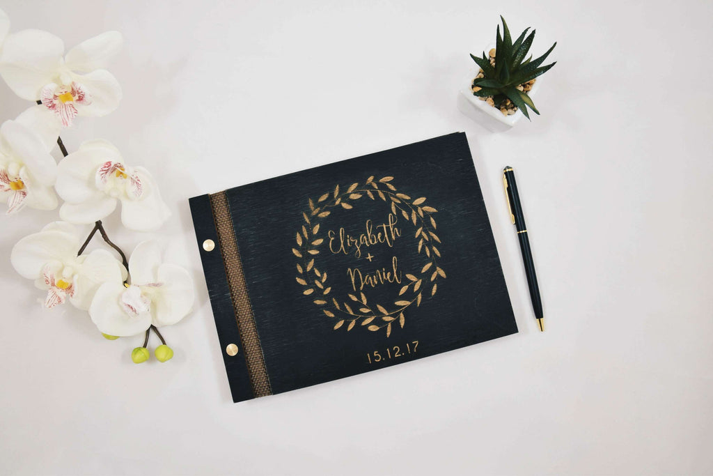 Laurel wreath gold engraved wood guest book