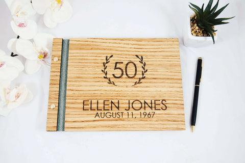 Personalized Oak Wood Birthday Guest Book