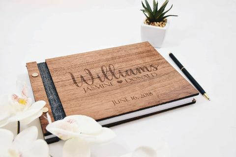 Personalized unique walnut wood guest book