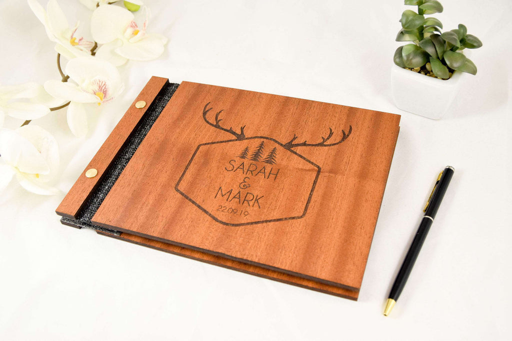 Personalized wood rustic wedding guestbook