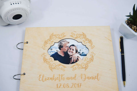 Personalized wood wedding guestbook