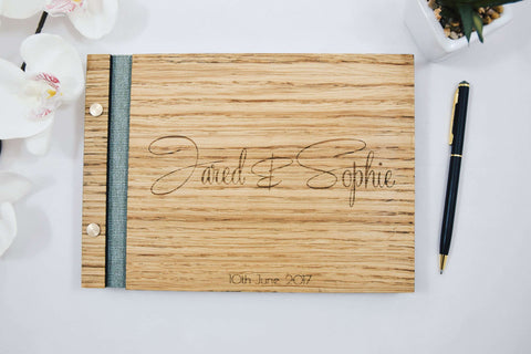 Rustic oak wood guest book for weddings