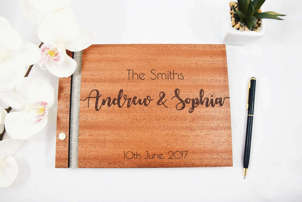 Solid wood mahogany wedding guest book