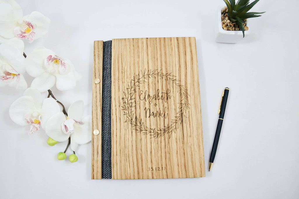 Wreath engraved wood wedding guestbook