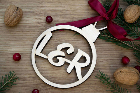 Initials laser cut bauble Christmas tree decoration