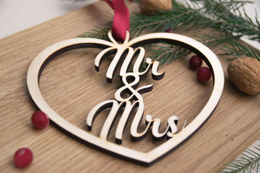 Mr and Mrs Christmas heart bauble