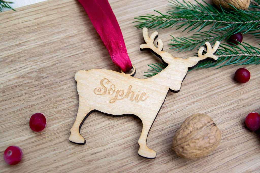 Personalized reindeer children christmas bauble