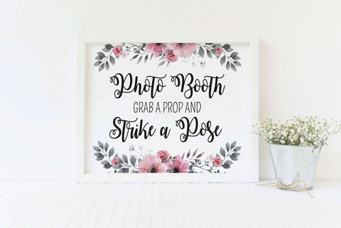 Photo Booth sign Grab a prop wedding sign