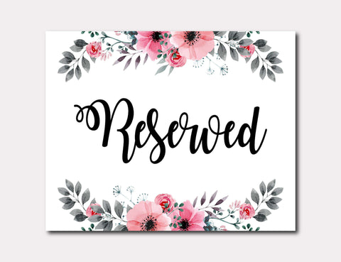 Printable Reserved Wedding Sign