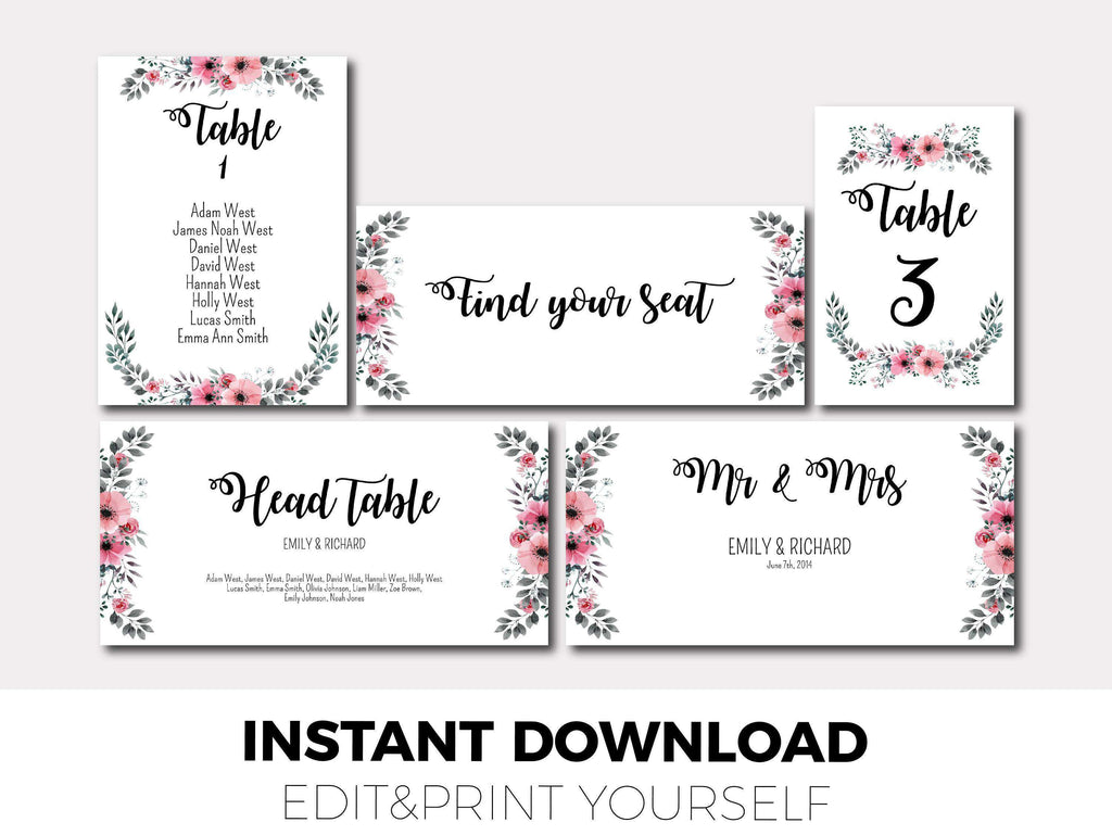 Set of Wedding Seating Chart Template