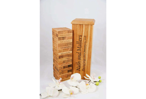 Engraved Oak Wood Blocks Game