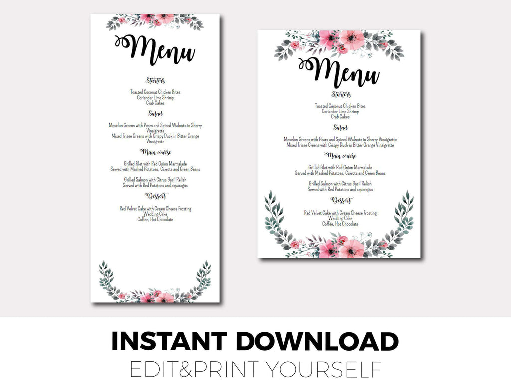 Wedding Menu Template.Wedding Menu Template
